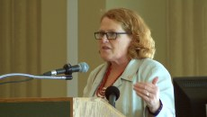 U.S. Sen. Heidi Heitkamp, D-N.D., stressed the importance of exports and research and development at the 2015 Bio-Industry Summit, held recently in Fargo. Cody Rogness/The Forum
