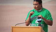 Chase Iron Eyes speaks at the Eliot Glassheim announcement of his Senate campaign at the town square in Grand Forks, N.D. on July 14, 2016. (Meg Oliphant/Grand Forks Herald)
