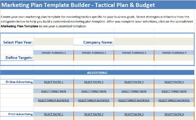 Marketing plan template builder for tactics and budget for Strategic marketing plan template free download