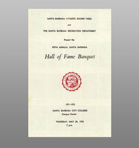 Santa Barbara Athletic Round Table 1972 Hall of Fame Banquet Cover