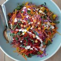 Shredded Rainbow salad with Greek yogurt Caesar dressing
