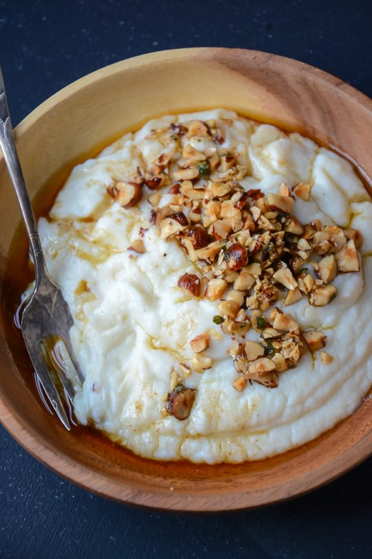 The perfect addition to your holiday table, mashed cauliflower with hazelnut brown butter