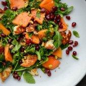 Winter persimmon, pomegranate and halloumi salad