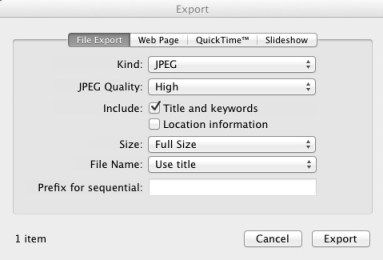 iPhoto Export window with title and keywords and file name options
