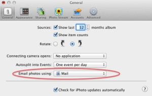 iPhoto Preferences set to email using Mail