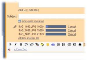 Le barre indicano il progresso nel caricamento degli attachment