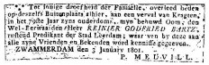 Bartz Reinier Godfried overlijdensadv 1801
