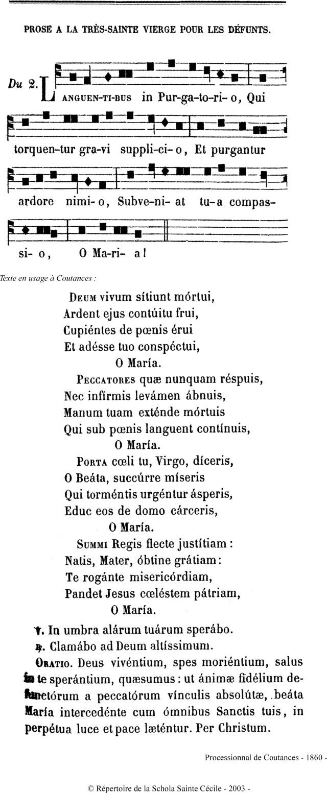 Languentibus in Purgatorio - chant de Coutances