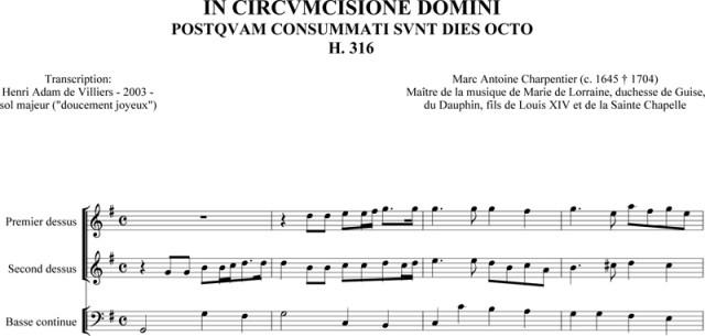 Charpentier - In Circumcisione Domini (H. 316)