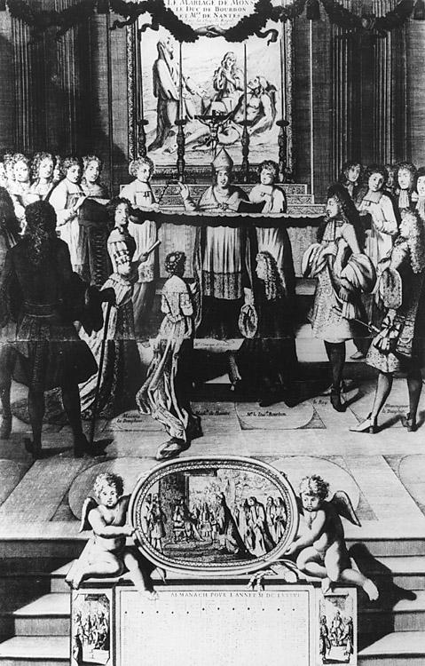 Le mariage de Monsieur le duc de Bourbon et Mlle de Nantes dans la chapelle royale de Versailles le 24 juillet 1685