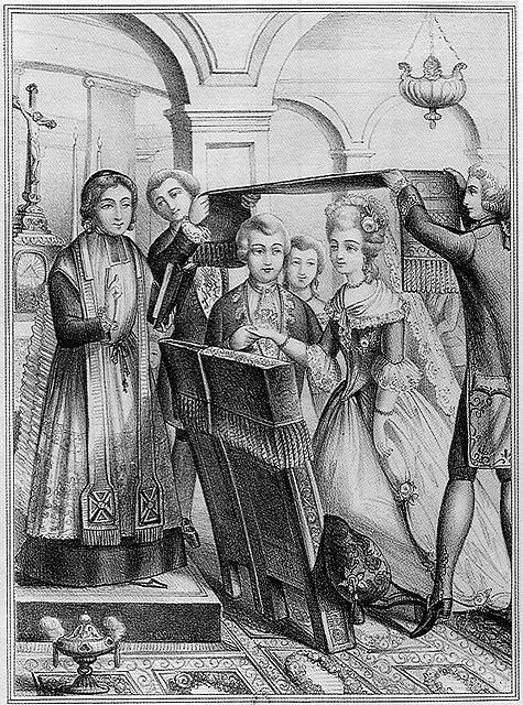 Mariage sous le poêle au XVIIIème siècle