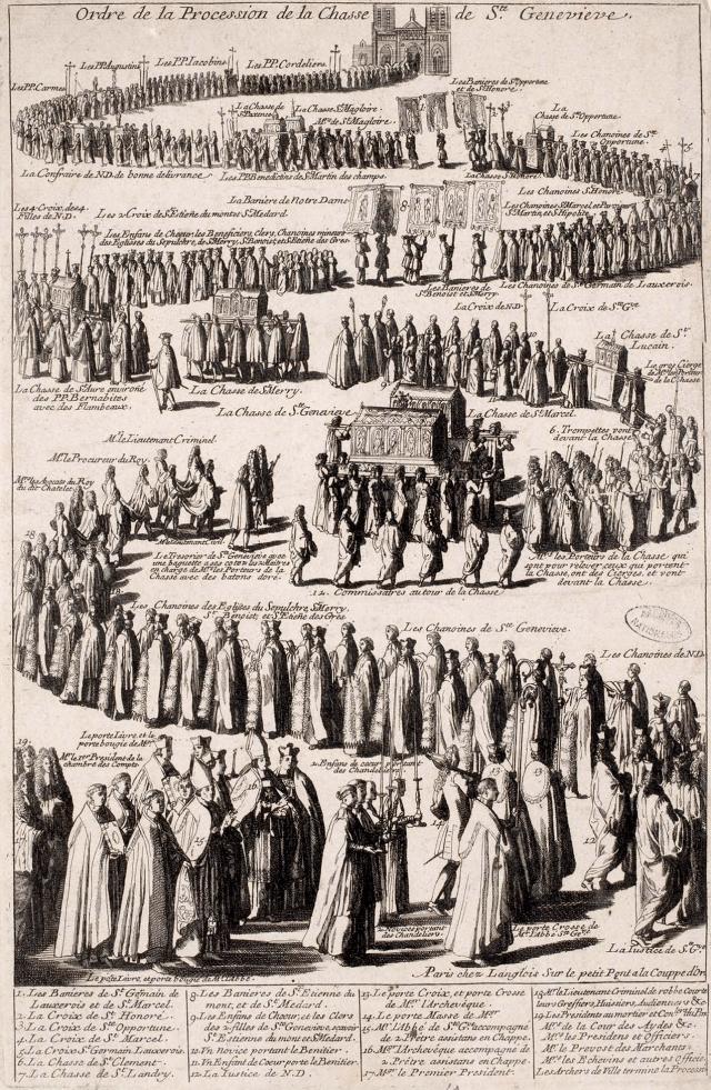 Ordre des anciennes processions avec la châsse de sainte Geneviève