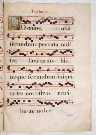 Trait Domine non secundum chanté aux messes stationales de Carême - Graduel de chœur de la cathédrale Notre-Dame de Paris du XVIIème siècle.