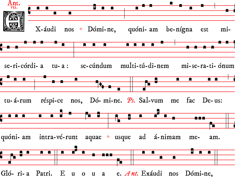Antienne pénitentielle Exaudi nos en plain-chant patriarchin