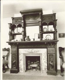 This elaborate mantelpiece was designed and made by Anna Sneed Cairns in the early 1880s to be installed in Kirkwood Seminary and Forest Park University.