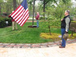 Flag raising ceremony April 25 at St Lucas.