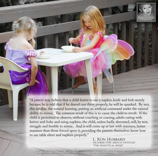 Punishment or Spanking vs Setting a Good Example - image quote from L. Ron Hubbard on Parenting
