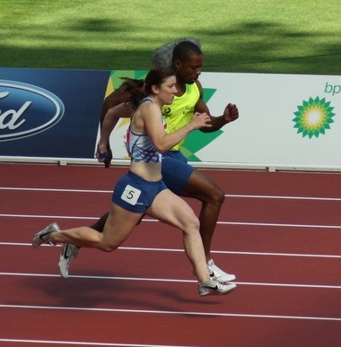 Libby Clegg and guide Mikail Huggins at Glasgow 2014 Commonwealth Games