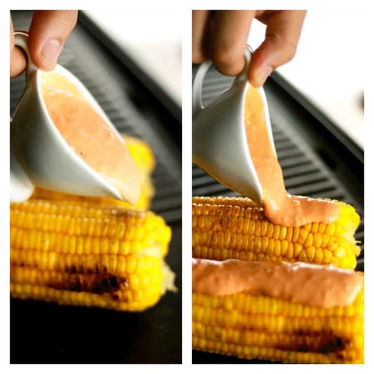 Grilled Sriracha Mayo Corn - This Grilled Sriracha Mayo corn is unlike anything you've ever had!! It's the perfect combination of spicy and cream with the crunch of the corn! We bet this will become your new favorite.   ScrambledChefs.com