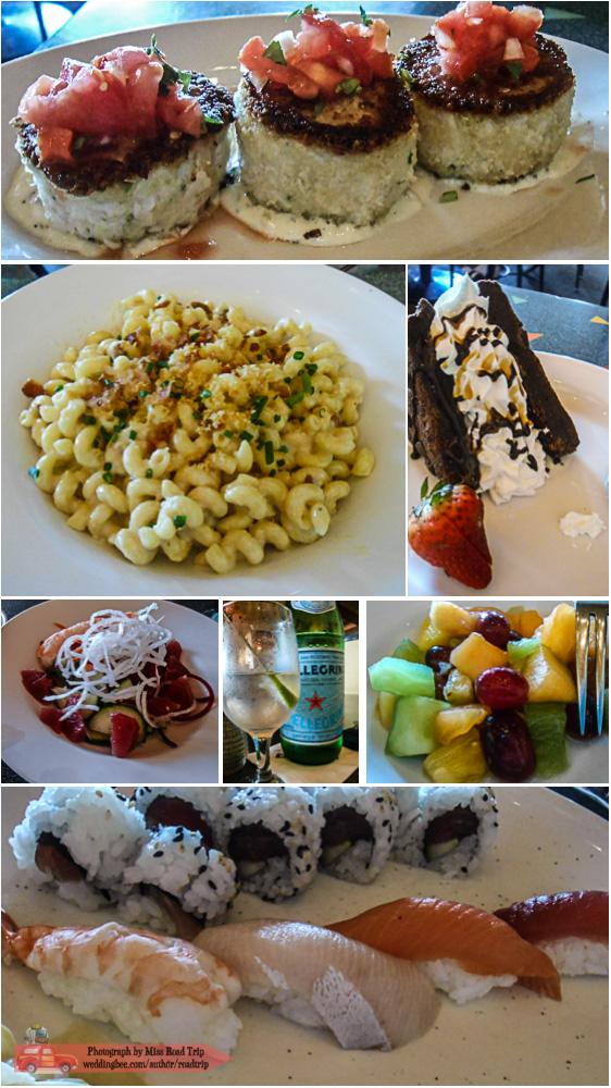Wolfgang Puck Cafe | Crab Cakes, Mac & Cheese, Brownie Sundae, Sunomono Salad, Pellegrino, Fruit Salad, Sushi Platter