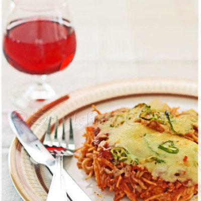 Spaghetti Lasagna or Baked Spaghetti with Bolognese and Little Cheese