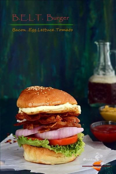 B.E.L.T. Burger | Bacon Egg Lettuce Tomato Burger | Classic Burger
