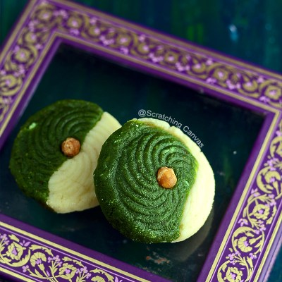 Pesta Sandesh with Butterscotch | Pistachio Butterscotch Fudge | Pista Sandesh