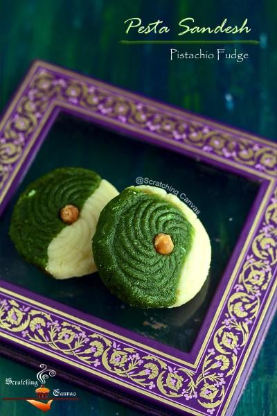 Pesta Sandesh with Butterscotch | Pistachio Butterscotch Fudge | Pista Sandesh