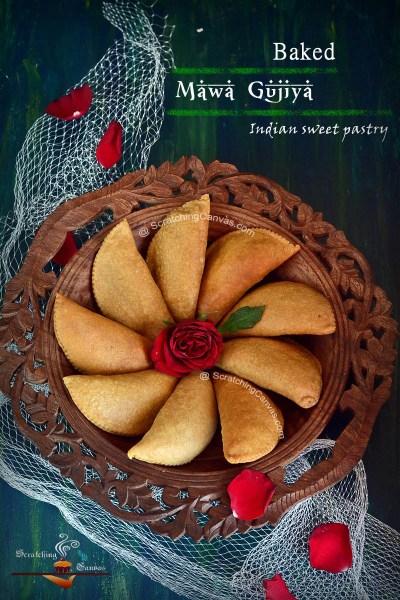 Baked Mawa Gujiya | Chandrakala | Karanji | Baked Sweet Empanadas | Holi Recipes