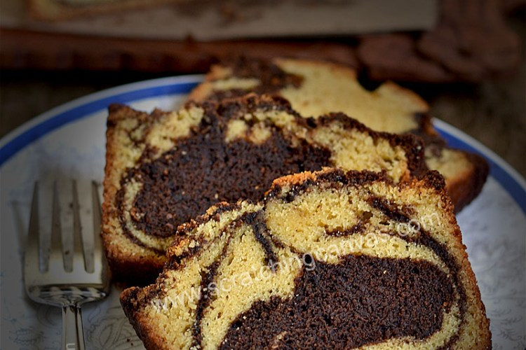 Espresso Chocolate Marble Cake | No Bake No Oven Marble Cake | Chocolate Swirl Bread
