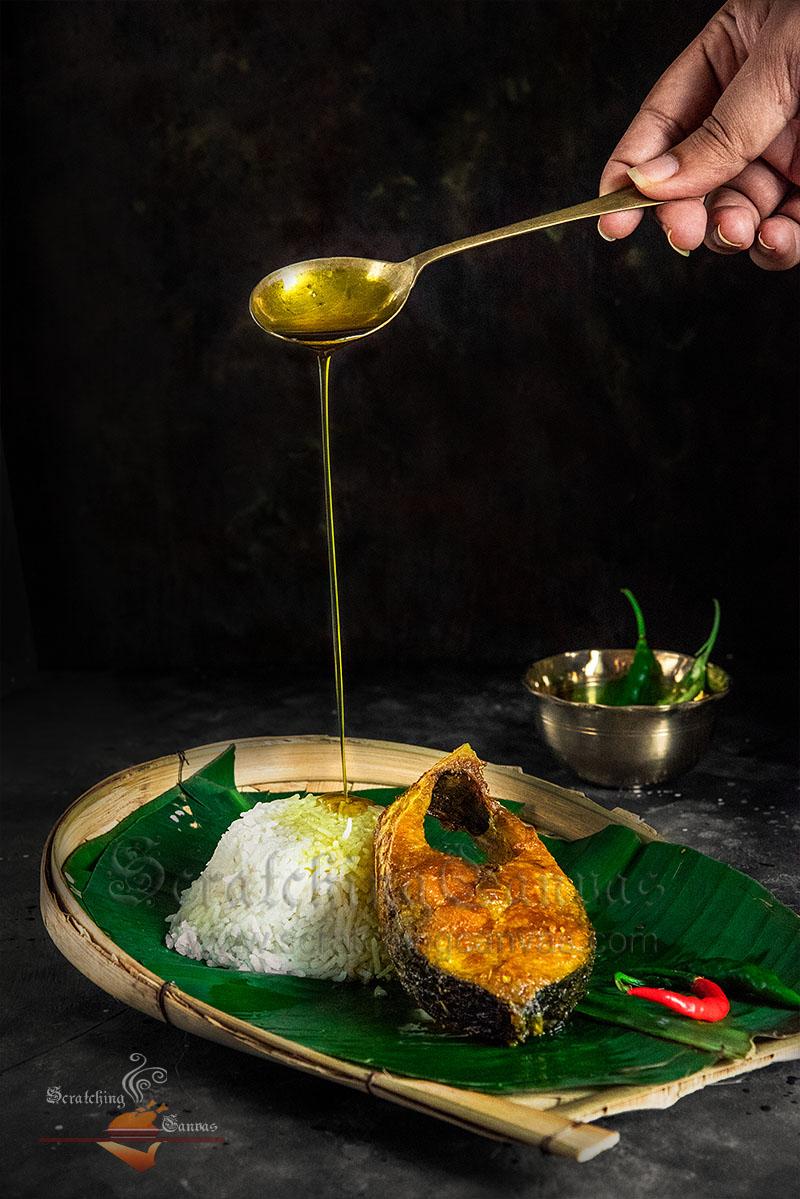 Ilish Bhaja Tel Food Styling Photography