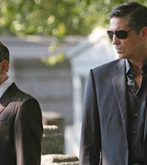 Michael Emerson (L) as Harold Finch and Jim Caviezel (R) as John Reese. Image © CBS