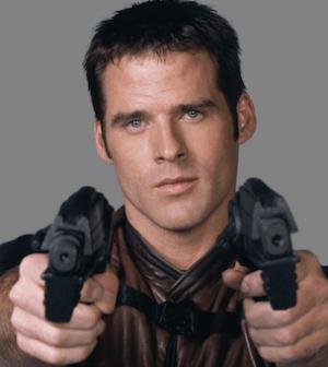 Ben Browder brandishes his guns in Farscape