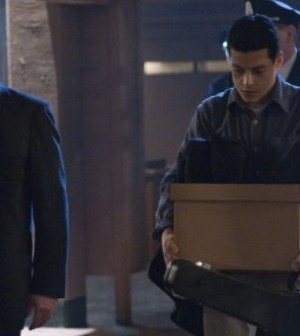 Warden James (Jonny Coyne) escorts Webb Porter (guest star Rami Malek) Image © FOX