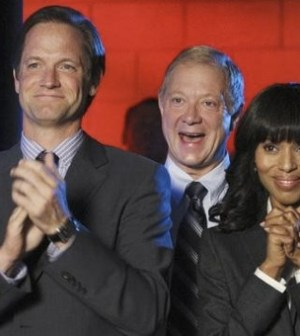 Matt Letscher, Jeff Perry and Kerry Washington in Scandal. Photo by Carol Kaelson. © ABC