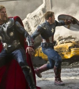 Thor and Captain America save the world together in The Avengers (Image © MVLFFLLC)