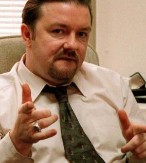 Ricky Gervais as David Brent on The British version of The Office (Image © BBC)