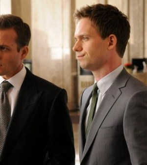 Pictured: (l-r) Gabriel Macht as Harvey Specter, Patrick J. Adams as Mike Ross -- (Photo by: Steve Wilkie/USA Network)