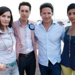Jill Flint, Paulo Costanza, Mark Feuerstein, and Reshma Shetty in ROYAL PAINS (Photo © USA Network)