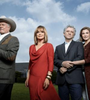 LtoR: Larry Hagman, Linda Gray, Patrick Duffy and Brenda Strong in Dallas. Photo: © TNT