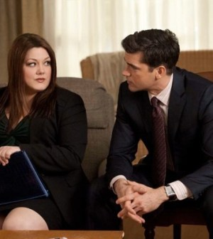 Brooke Elliott and Jackson Hurst in Drop Dead Diva. Photo by Bob Mahoney. Image © A&E Television Networks