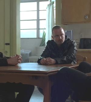 Walt (Bryan Cranston), Jesse (Aaron Paul), and Mike (Jonathan Banks) discuss business (Image © AMC)