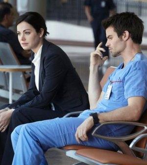 (l-r) Erica Durance as Alex Reid, Daniel Gillies as Joel Goran -- (Photo by: Ian Watson/NBC)