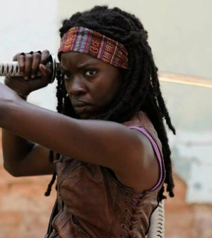 Danai Gurira as Michonne in The Walking Dead. Photo by Gene Page. Image © AMC