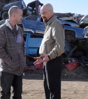 Jeese (Aaron Paul), Walt (Bryan Cranston), and Mike (Jonathan Banks) discuss magnets. Image © AMC