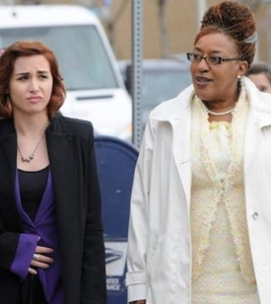 Allison Scagliotti as Claudia Donovan, CCH Pounder as Mrs. Frederic -- (Photo by: Steve Wilkie/Syfy)