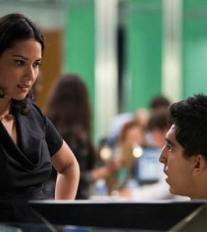 Olivia Munn as Sloan Sabbith and Dev Patel as Neal Sampat in The Newsroom. Photo: © HBO