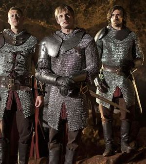 Sir Leon, Percival, King Arthur, Gwaine and Mordred. Image © BBC