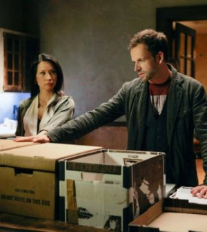 Jonny Lee Miller as Sherlock Holmes and Lucy Liu as Joan Watson in Elementary. Image: Giovanni Rufino © CBS