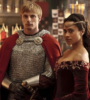 Bradley James and Angel Coulby in Merlin. Image © BBC